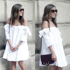 NWT ZARA WHITE OFF SHOULDER POPLIN TUNIC DRESS WITH BOW. REF 7719/046 #ZARA #ALineDressTunicDress #Casual