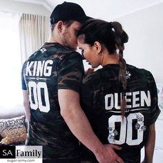 King and Queen camouflage print | Custom number t-shirts, King queen camo shirts, king and queen camo tees, King and Queen Flower design