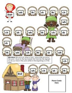 Cute digraph game.  Little Red Riding Hood Theme.