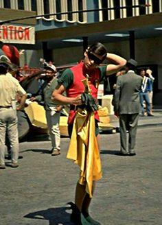 'Burt Ward' as 'Robin' between takes on 'Batman TV Series' Real Batman, Batman Tv Show, Batman Tv Series, Batman And Superman, Batman Robin, Batman Stuff, Adam West Batman, Robin The Boy Wonder, Burt Ward