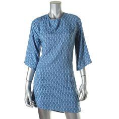 Ava Sky 6780 Womens Blue Jersey Printed Knee-Length Casual Dress S BHFO #AvaSky #ShirtDress #Casual