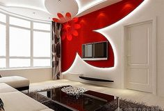 10 Red gypsum false ceiling design for living room 2015