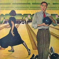 Stocking Strike, art by George Hughes - detail from Saturday Evening Post - January 28, 1950