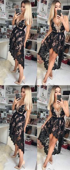 high low black lace homecoming dresses #prom #promdress #promdresses #homecoming #homecomingdress