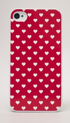 white hearts on red phone case