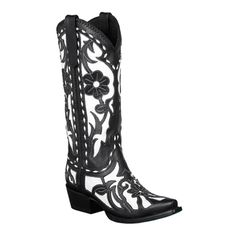 Lane Boots Women's Black/ White 'Poison' Cowboy Boots   Overstock.com Shopping - Great Deals on Lane Boots Boots