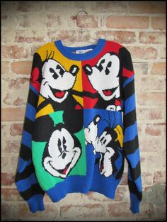 Vintage 90's Mickey Mouse Disney Colorblock Sweater by RackRaidersVintage, $40.00