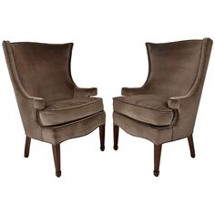 Pair 1940's Velvet Wingbacks | From a unique collection of antique and modern wingback chairs at http://www.1stdibs.com/furniture/seating/wingback-chairs/