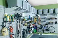 Maximize Garage Storage With These Easy Tips Garage Storage Shelves, Garage Organisation, Overhead Garage Storage, Garage Storage Solutions, Garage Shelf, Wire Shelving, Garage Doors, Heavy Duty Garage Shelving, Room Organization