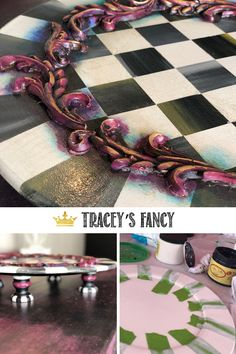 I use HOT GLUE!those gorgeous decorative carvings are molds made from hot glue!and glue them into place! – By Tracey's Fancy Stripes Diy Painting, Painting Tutorials, Art Tutorials, Diamond Furniture, Whimsical Painted Furniture, Whimsical Halloween, Diy Furniture Hacks, Fancy Words, Dixie Belle Paint