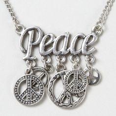 Sliver Peace Sign Charm Pendant Necklace – Claire's