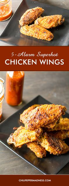 5-Alarm Superhot Chicken Wings - These spicy baked chicken wings are outrageously hot, rubbed with a mixture of 5 ground Carolina Reapers and served with a bottle of flaming hot sauce. This recipe of not for the faint of heart.