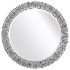 Lyone 34-inch Round Powdered Silver Mirror with Bevel