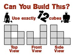 """Here's the deal: your student get a set of plans for a building using Snap Cubes or Multi-Link Cubes, which includes the top, front, and side view; they have to construct the building that goes with it. Ranges from simple (3 cubes) to ridonculous (10 cubes, bizzarro plans...) Includes clues about how to construct the building (""""uses 5 cubes, etc.)"""
