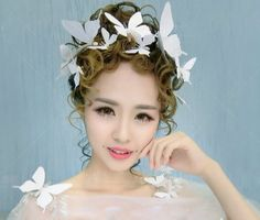 20 pieces White Bridal butterfly Hair Accessories hen night Wedding  Party Decoration 16071309