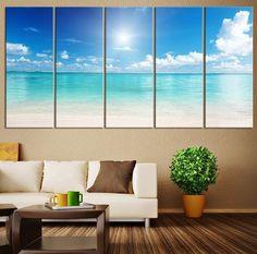 Large Canvas Print Ocean Landscape, Wall Art Sun on Ocean Canvas Print, Extra Large Ocean Photo Print on Canvas