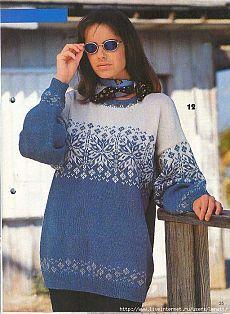 Спицы.Бело-голубой пуловер в норвежском стиле