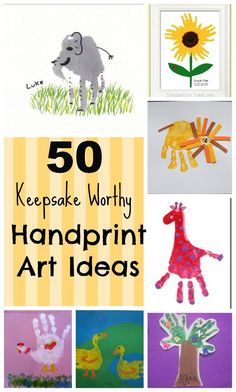great gifts for grand parents of young children 50 Keepsake Worthy Handprint Art Ideas! From animals to the alphabet, babies to preschoolers, there are hand print craft ideas for everyone! Kids Crafts, Craft Activities For Kids, Baby Crafts, Toddler Crafts, Toddler Activities, Arts And Crafts, Learning Activities, Santa Crafts, Quick Crafts