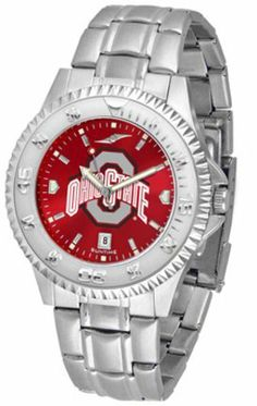 Ohio State Buckeyes Competitor AnoChrome Men's Watch with Steel Band by SunTime. $91.67. Showcase the hottest design in watches today! A functional rotating bezel is color-coordinated to compliment the NCAA Ohio State Buckeyes logo. A durable, long-lasting combination nylon/leather strap, together with a date calendar, round out this best-selling timepiece.The AnoChrome dial option increases the visual impact of any watch with a stunning radial reflection similar to that...