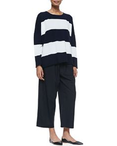 -5G56 eskandar Cashmere Striped Sweater with Double Edges & Japanese Trousers