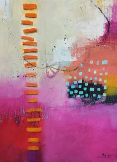 Contemporary Bright Colored Abstract Painting 12 x 16 on Etsy by Jodi Ohl#abstract #acrylicpainting #art #patternsinart #jodiohl Tea Bag Art, Day Up, Mixed Media Canvas, Brighten Your Day, Painting Inspiration, Collage Art, New Baby Products, Magenta, Aqua