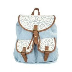 Womens Denim Crochet Trim Rucksack