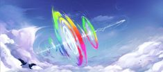 #2151820 - artist:kaleido-art, bird, cloud, cloudy, daytime, digital art, edit, epic, female, flying, mare, moon, pegasus, pony, rainbow dash, safe, sky, solo, sonic rainboom - Derpibooru