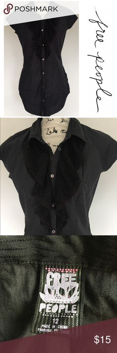 Free People button down pinstriped shirt Free People button down pinstriped shirt with lace detail - long shirt, great to wear with leggings! Free People Tops Button Down Shirts