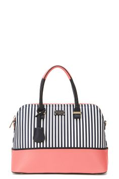Maisy Nautical Stripe navy/coral by Paul's Boutique Paul's Boutique, Striped Bags, Navy Stripes, Color Pop, Nautical, Coral, Girly, Purses, Shoe Bag