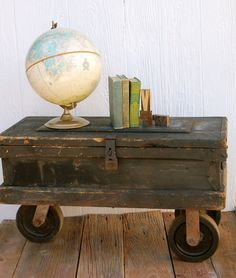 Vintage Carpenters Industrial Toolbox Chest with Amazing Casters. $398.00, via Etsy.