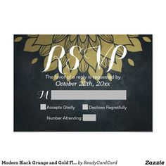 Modern Black Grunge and Gold Floral RSVP Reply Card