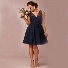 decd20b7ddabd Short bridesmaid dress, navy blue bridesmaid dress, chiffon bridesmaid  dresses, cheap bridesmaid dress, modest bridesmaid dress, 14523 from  fitdesigndress