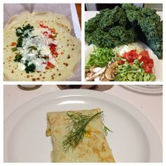 Crepe with vegetables and cheese sauce dinner .