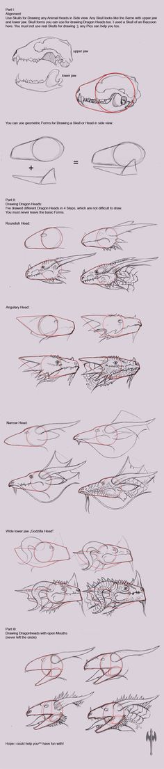 trendy how to draw a dragon head design reference Drawing Techniques, Drawing Tutorials, Drawing Tips, Art Tutorials, Drawing Sketches, Drawing Ideas, Sketching, Animal Drawings, Cool Drawings