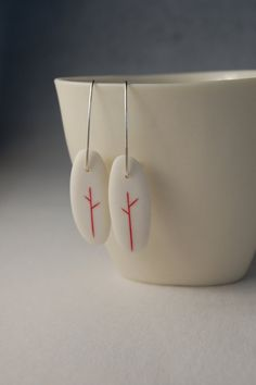 Red Tree Earrings  Porcelain and Sterling Silver by yashabutler, €42.00