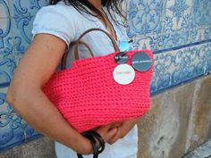 https://flic.kr/p/tmSdd4 | by me l byGuizo (facebook) | hand-made baskets - ice cream color collection  cotton l leather   in raspberry...  ÍCONE FASHION