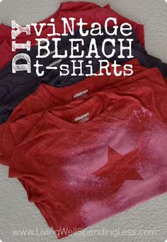 Use freezer paper & bleach to create these very cool vintage bleach tees.  Great gift idea for guys or teens!