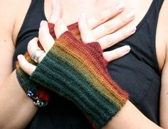 Autumn Rainbow: Hand knit Fingerless Gloves