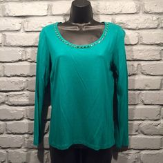 Talbots beaded blouse Long sleeve t shirt blouse. Color is turquoise. No missing beads or loose strings. Very comfortable and light weight. Size small. Talbots Tops Tees - Long Sleeve