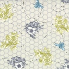 BEE MY HONEY Nectar White Novelty Bee Line with Flowers in Natural by Mary Jane Butters for Moda Fabric - Yardage on Etsy, $3.00