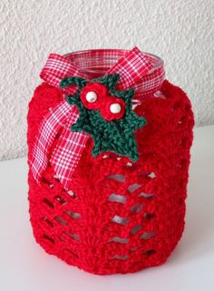 Two X-massy crocheted jar covers with pattern links.