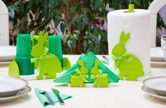 Set of  KITCHEN ITEMS RABBITS acid green, 3 pieces kitchen roll holder, napkins holder, cup holder
