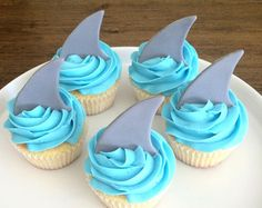 Shark Fin Cupcake Toppers Fondant by MilkandHoneyCakery on Etsy Shark Fin Cupcakes, Shark Cake, Shark Birthday Cakes, 2nd Birthday Party Themes, Half Birthday, Fondant Toppers, Cupcake Toppers, Ocean Cakes, Shark Party