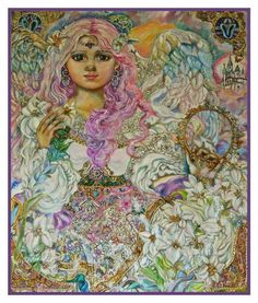 Angel of the Pink Lily Counted Cross Stitch Chart inspired by Yumi Sugai's Art #OrencoOriginals #picturepillow