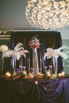 Great Gatsby wedding decor in purple with feathers #gatsby #wedding #style www.dalmatia-events.com
