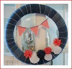 Summer Wreath in Patriotic Red, White and Blue Denim - Fox Hollow Cottage - Dollar Tree Pool Noodle Wreath