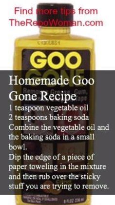 Homemade Goo Gone Recipe (and other household cleaner recipes)