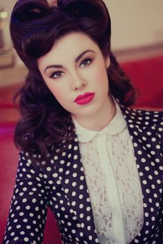 Retro makeup & hair. Love the polka dots and lace