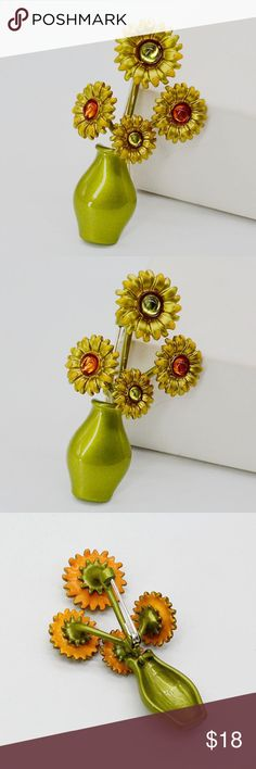 "NEW Van Gogh Sunflowers Inspired Enamel Brooch Beautifully hand enameled brooch.  Measures 2.36"" x 1.38"".  Perfect for art lovers.  BRAND NEW. Jewelry Brooches"