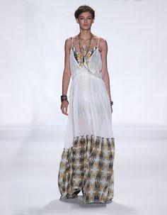 Rebecca Minkoff Look 28: Silk Chiffon Tomas Dress with Casablanca Print Hem Casablanca Print Silk Slip